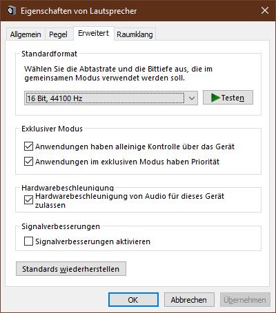 Windows 10 Sound Einstellung Systemsteuerung