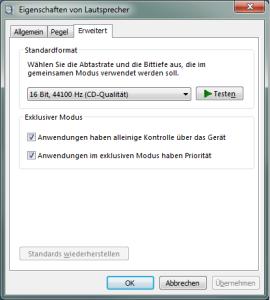 Soundkarten Bitraten Einstellung unter Windows7 und Windows8